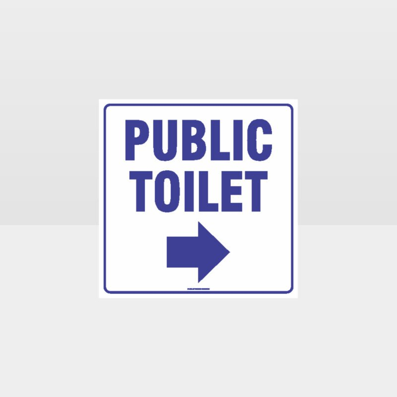 Public Toilet Right Arrow White Background Sign