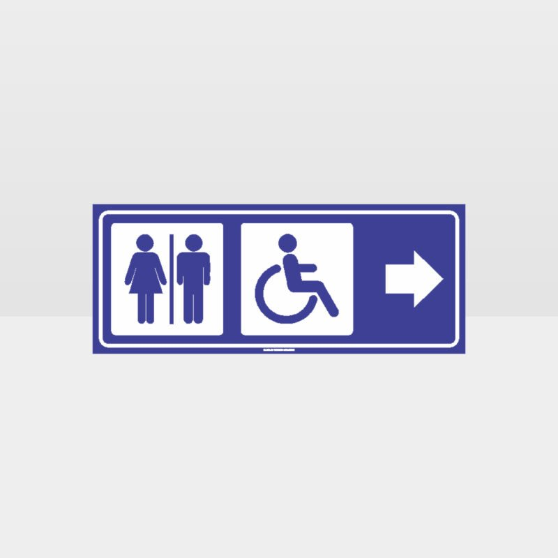 Male Female Accessible Toilets Right Arrow Sign