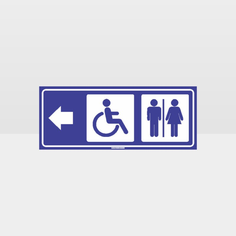 Male Female Accessible Toilets Left Arrow Sign