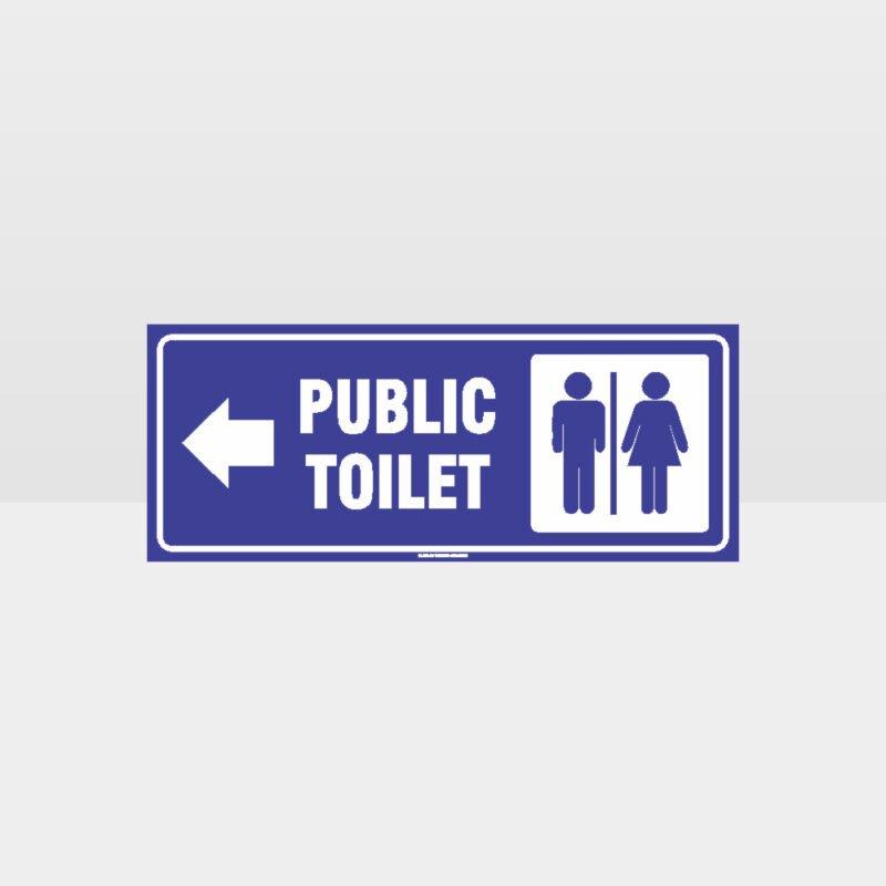 Public Toilet Left Arrow Sign