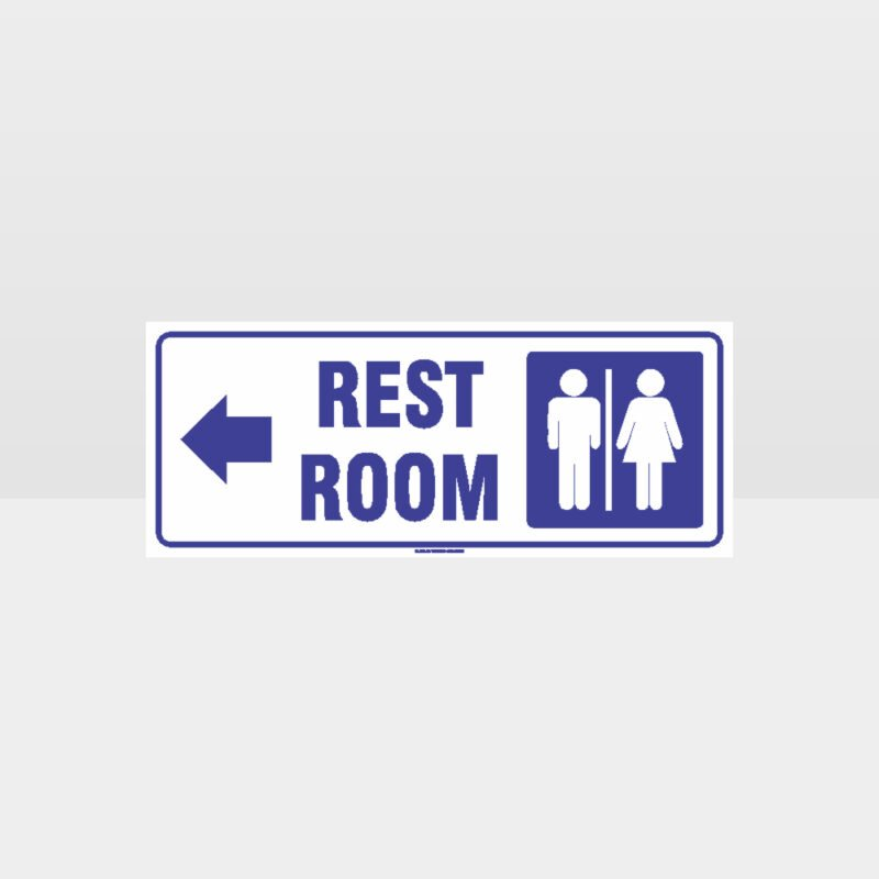 Rest Rooms Left Arrow White Background Sign