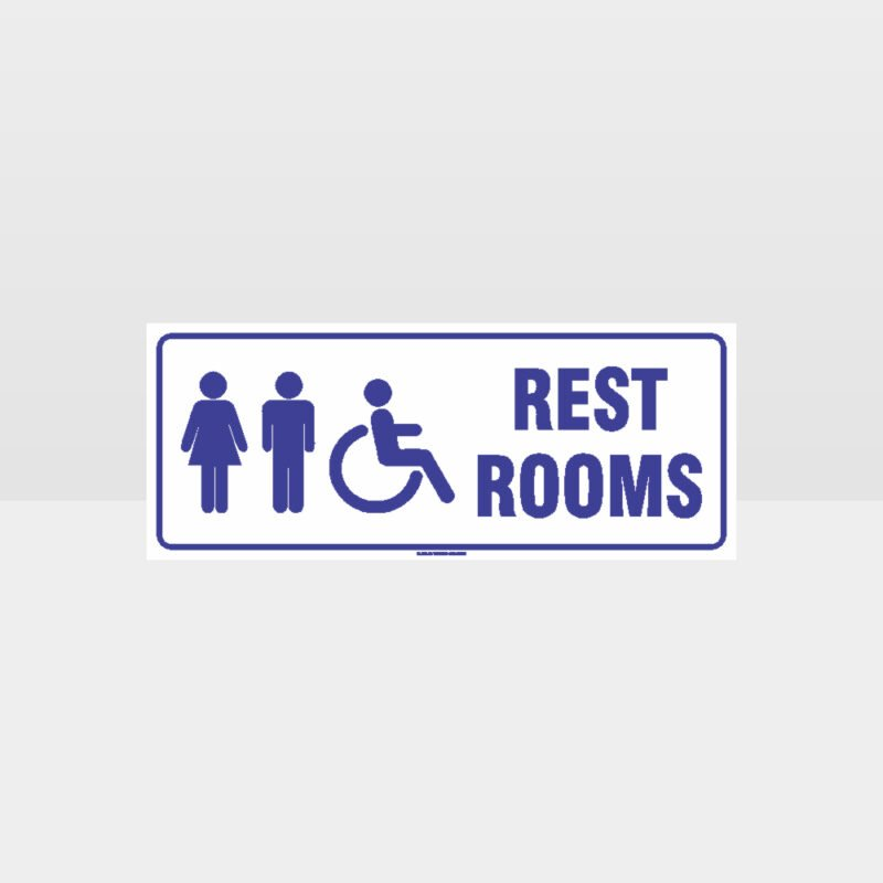 Rest Rooms Accessible White Background Sign