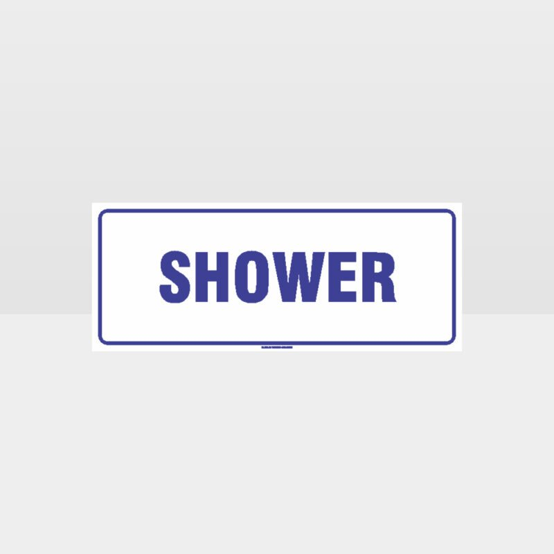 Shower White Background Sign