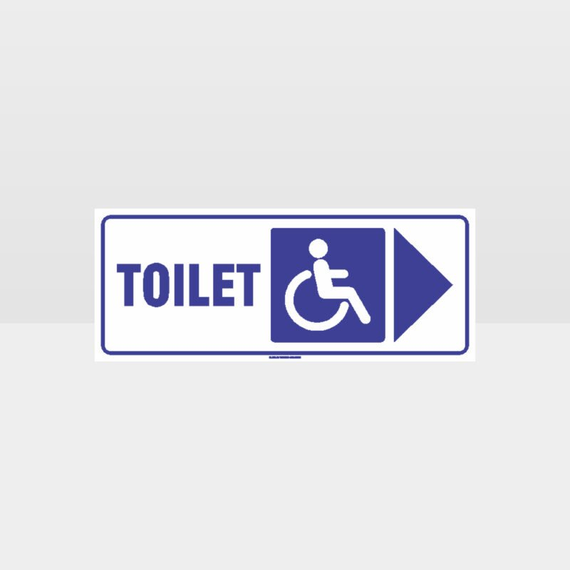 Accessible Toilet Right Arrow White Background Sign