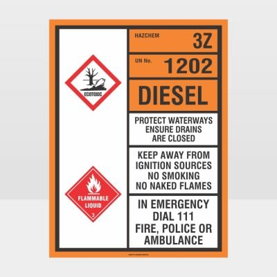 Hazardous 3Z 1202 DIESEL Sign