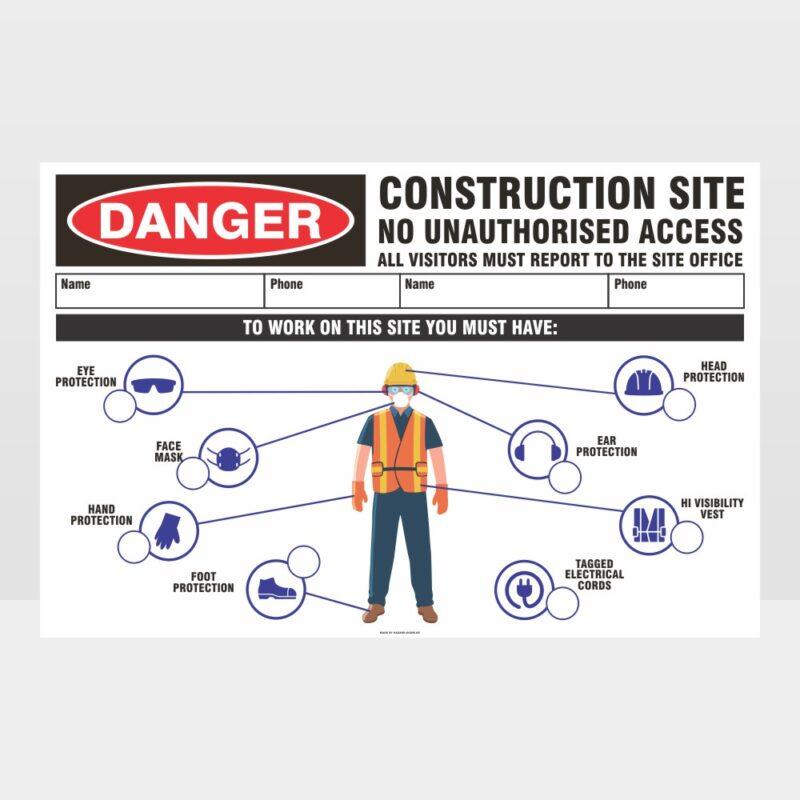 Danger Construction Site No Access Sign