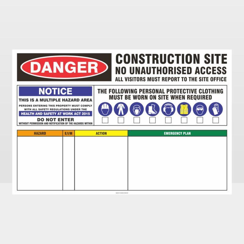 Danger Construction Site No Access 02 Sign