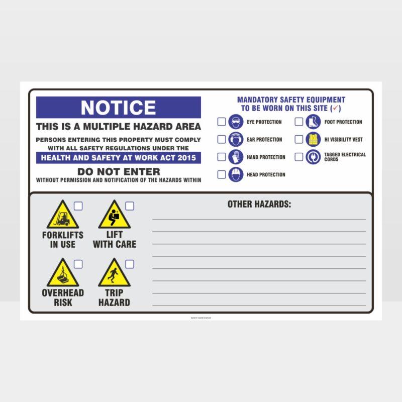 Notice Multiple Hazard Area Landscape 01 Sign