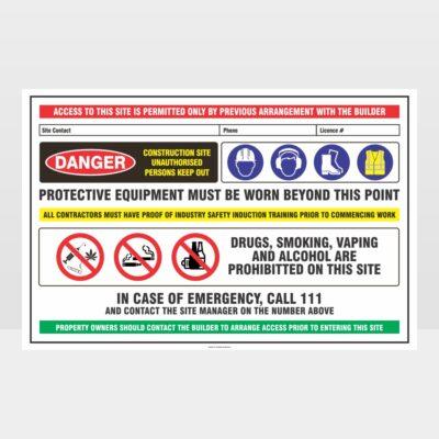 Danger Construction Site 01 Sign