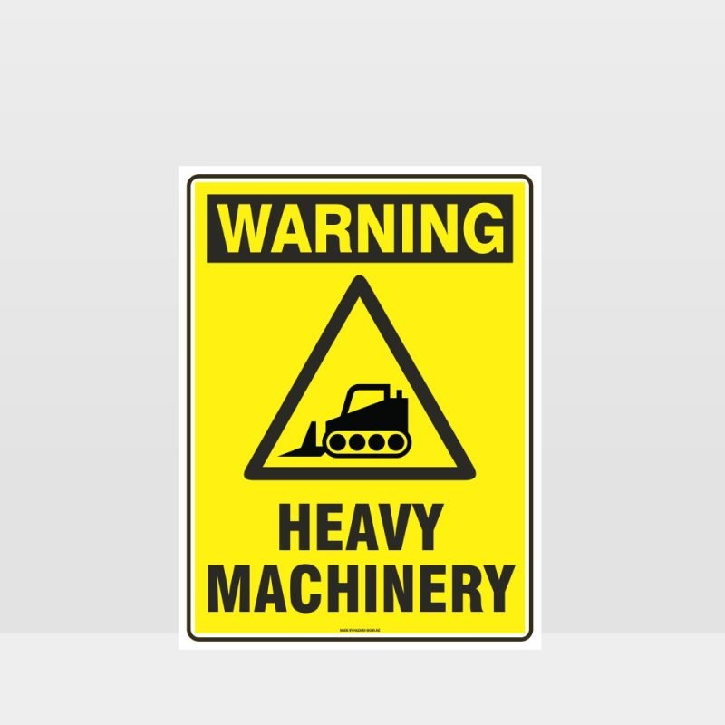 Warning Heavy Machinery Bulldozer Sign