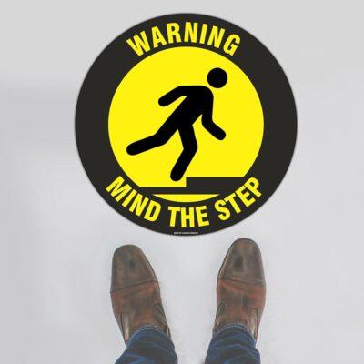 Warning Mind The Step Floor Sign