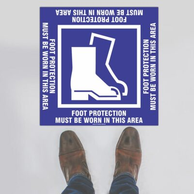 Foot Protection Square Floor Sign