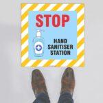 STOP Hand Sanitiser Station Floor Sign