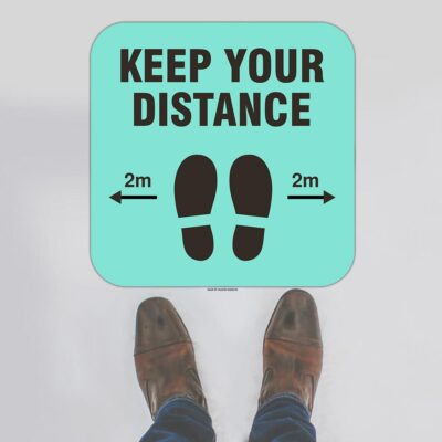Keep Your Distance Rounded Square Floor Sign