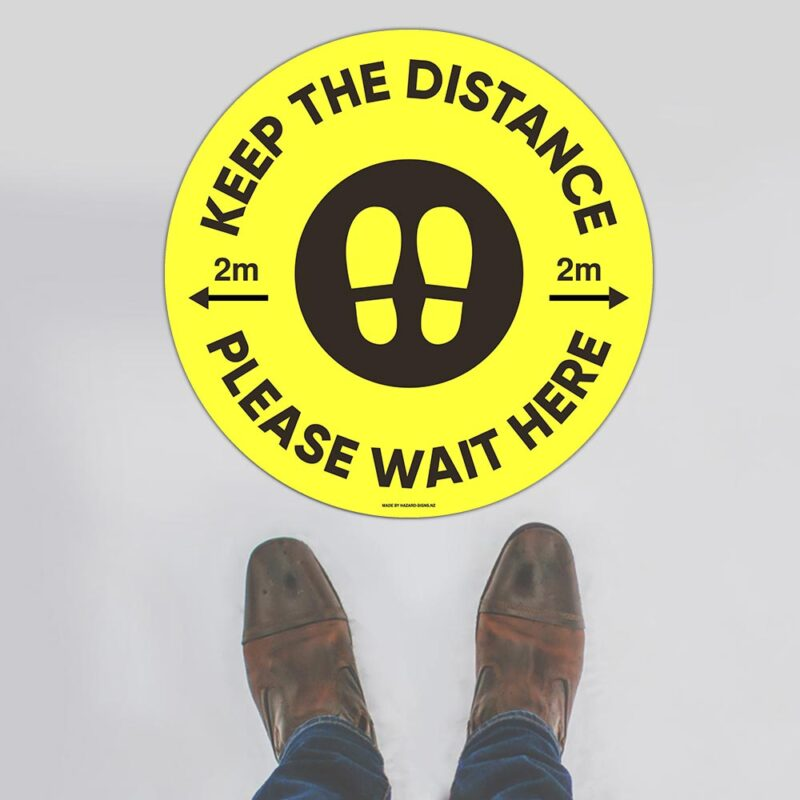 Keep Your Distance 2m Yellow Floor Sign