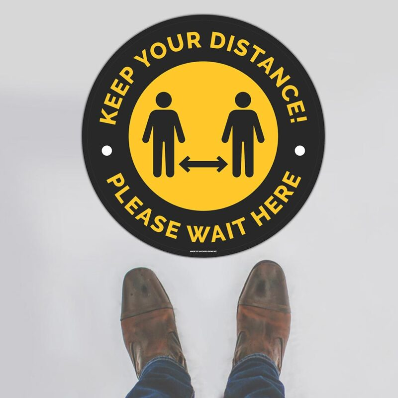 Keep Your Distance Black Yellow Floor Sign