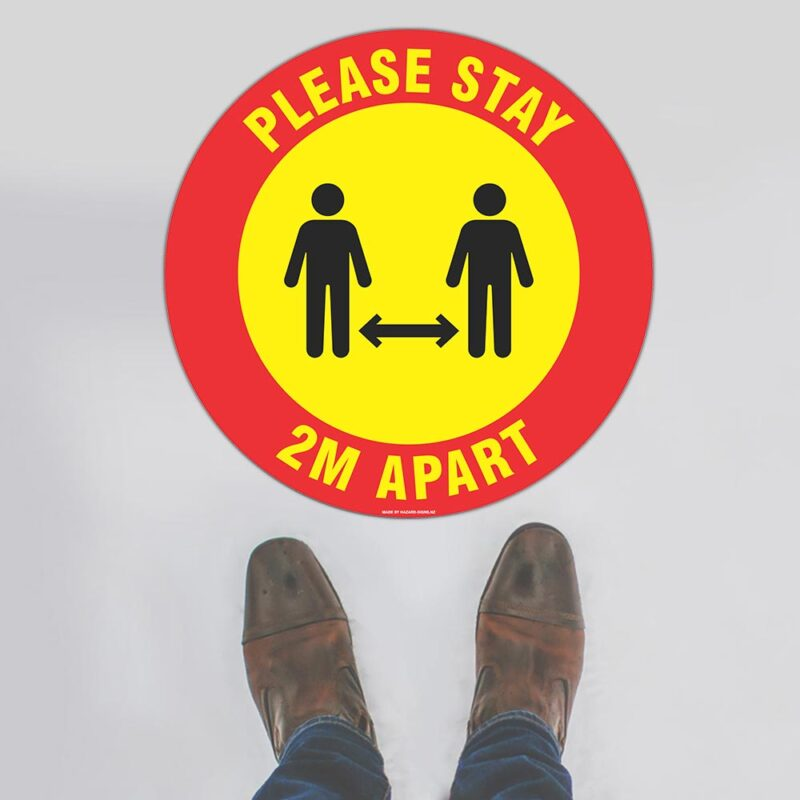Please Stay 2m Apart Red Yellow Floor Sign