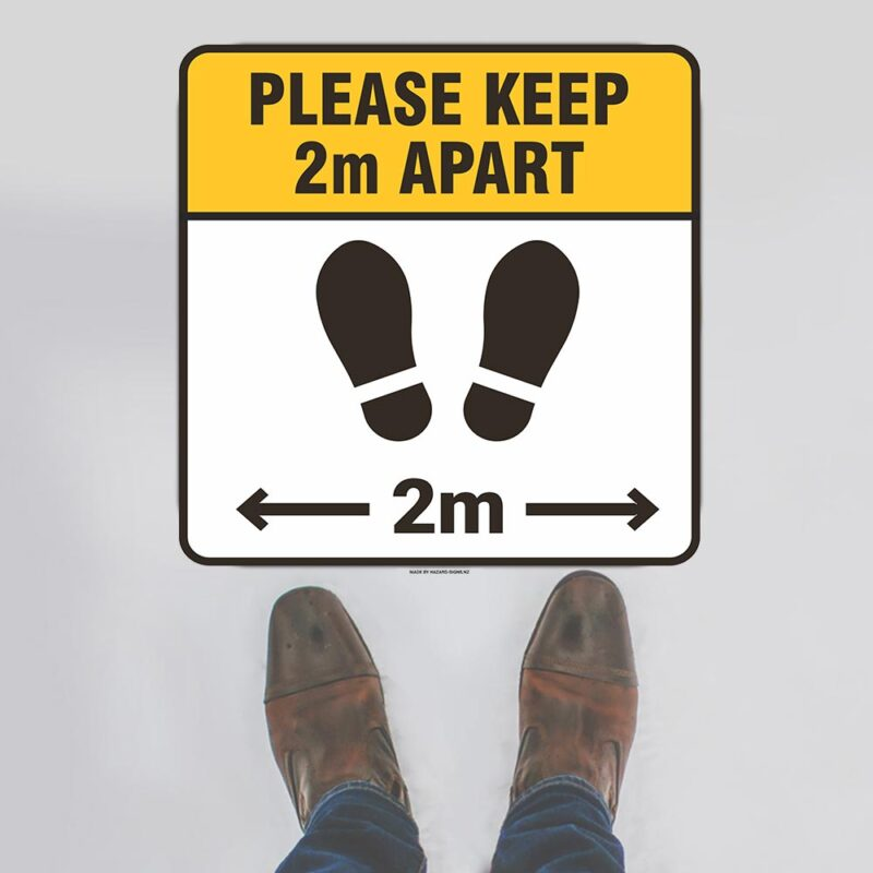 Please Keep 2m Apart Rounded Square Floor Sign