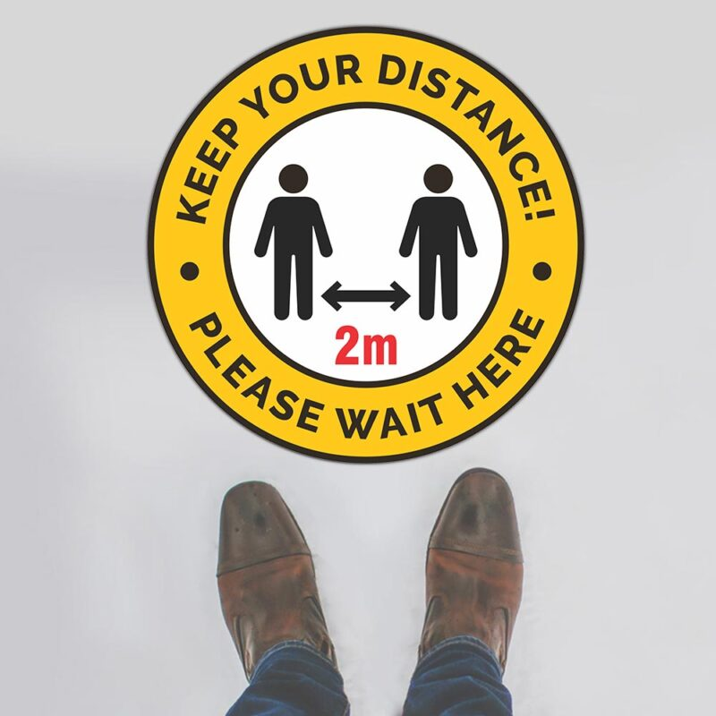 Keep Your Distance 2m Please Wait Here Floor Sign
