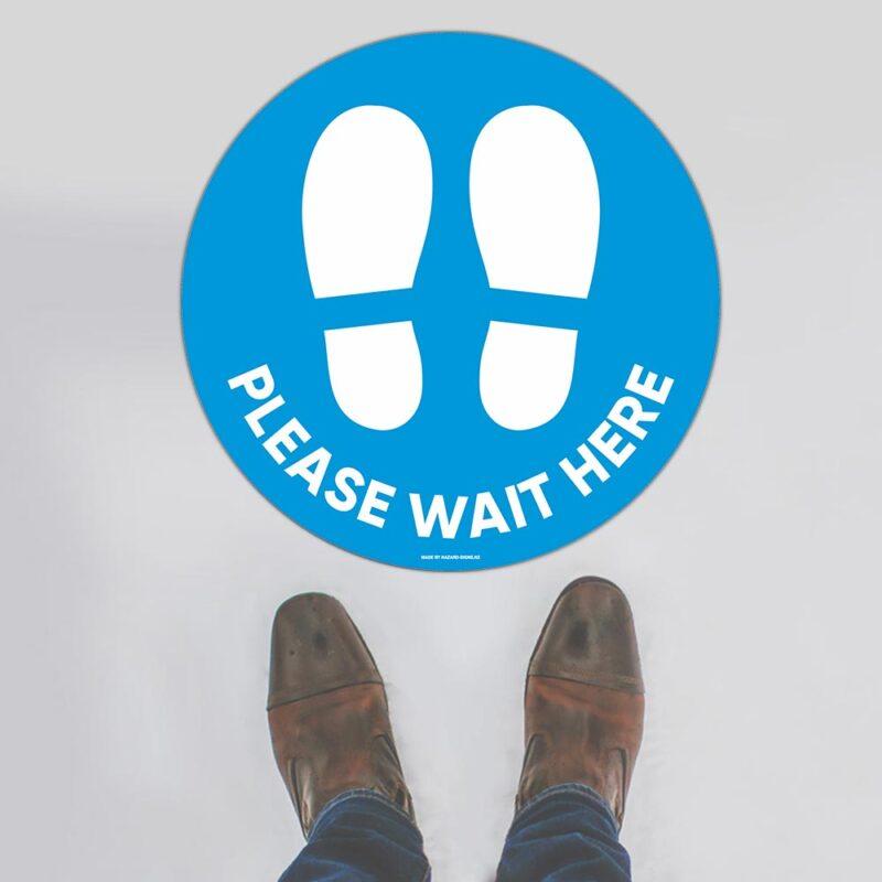 Please Wait Here Aqua Floor Sign