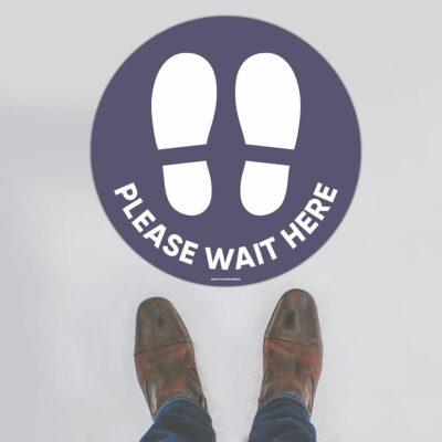 Please Wait Here Blue Floor Sign