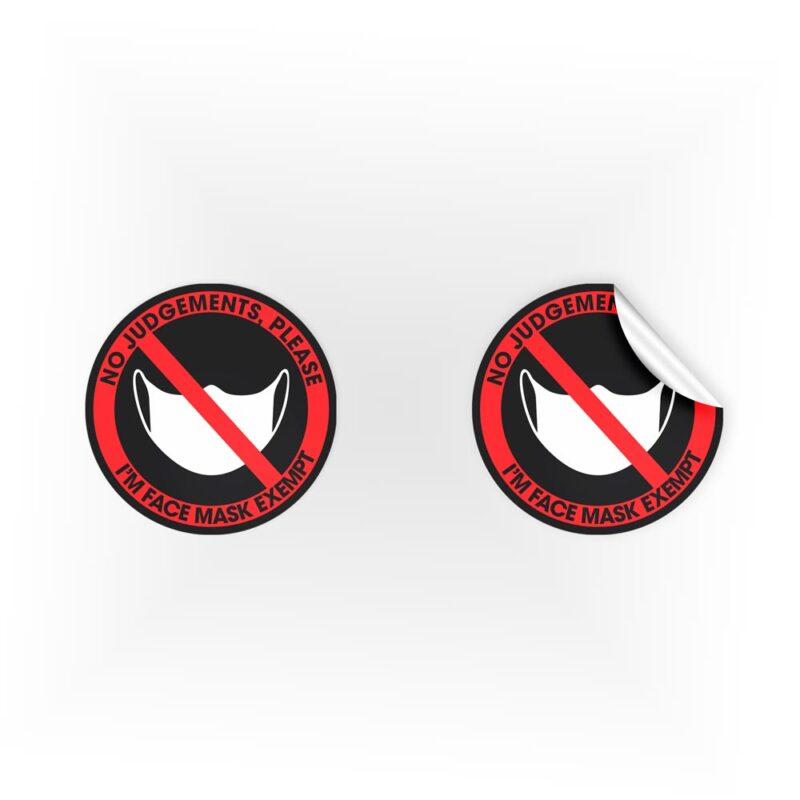 No Judgements Face Mask Exempt Stickers